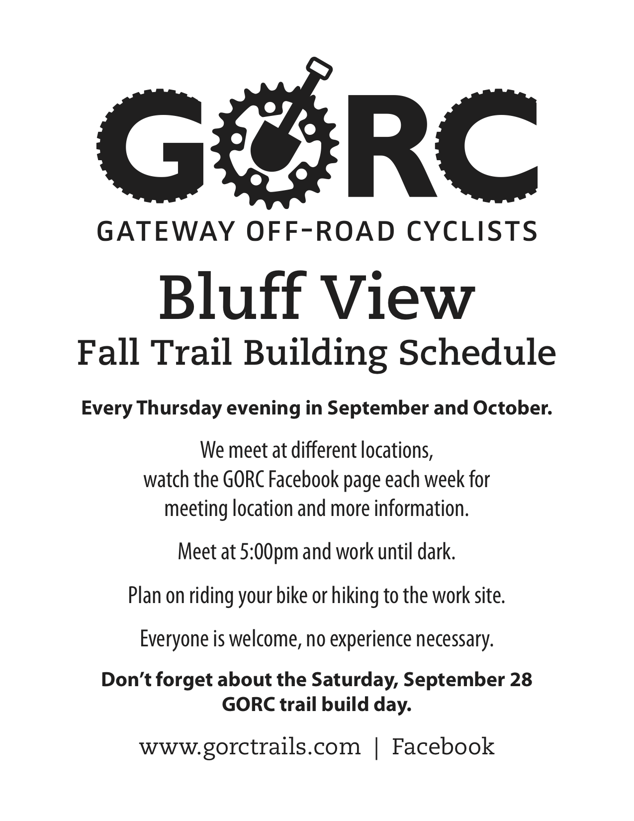Bluff View Fall Trail Building Schedule