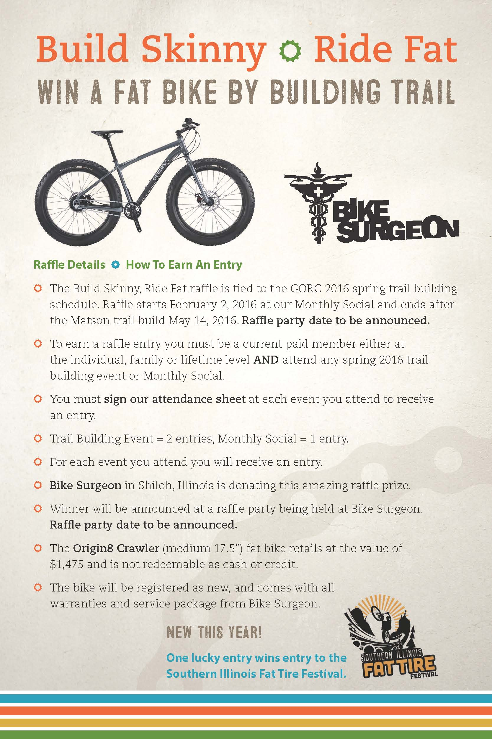 Spring 2016 Trail Building Bike Raffle presented by Bike Surgeon and GORC