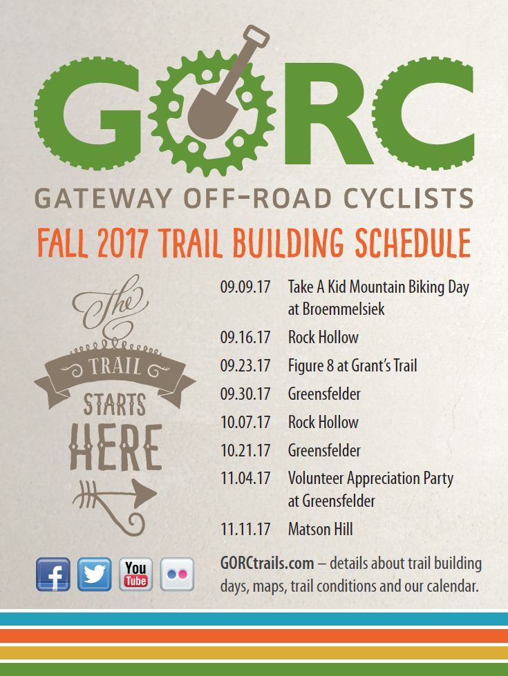 Fall 2017 Trail Building Schedule