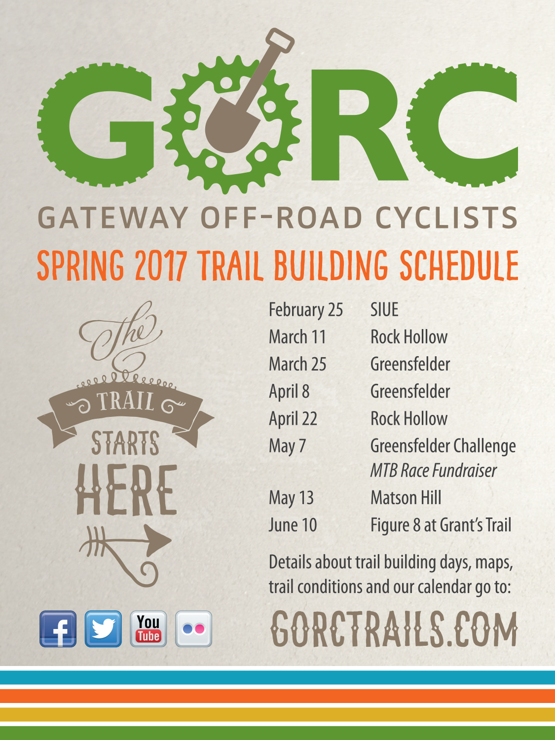 Spring 2017 Trail Building Schedule