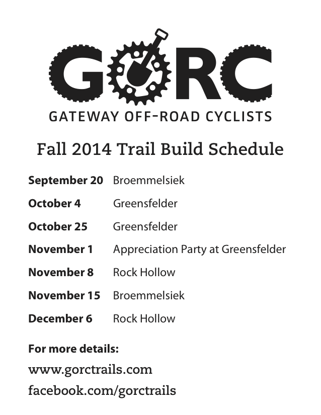 2014 Trail Building Schedule