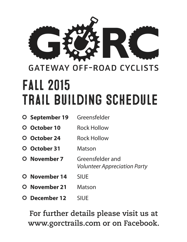 2015 GORC Fall Trail Building Schedule