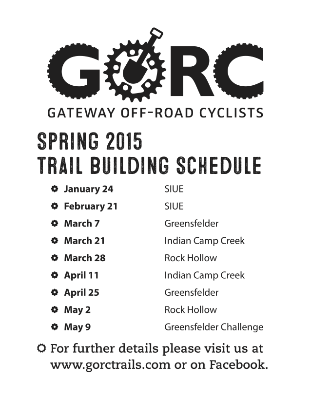 Spring 2015 Trailbuilding Schedule