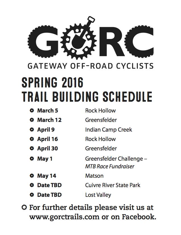 Spring 2016 Trail Buildin Schedule