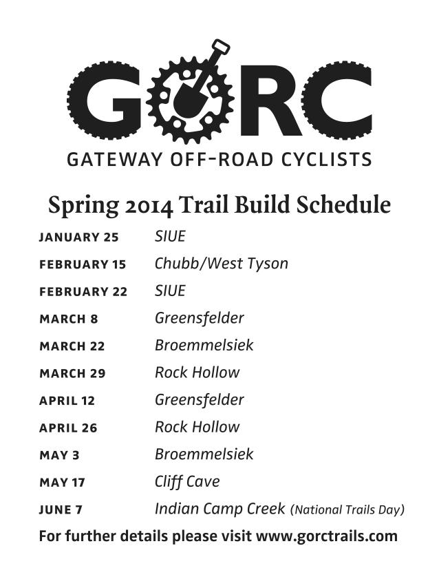 Trailbuilding Schedule