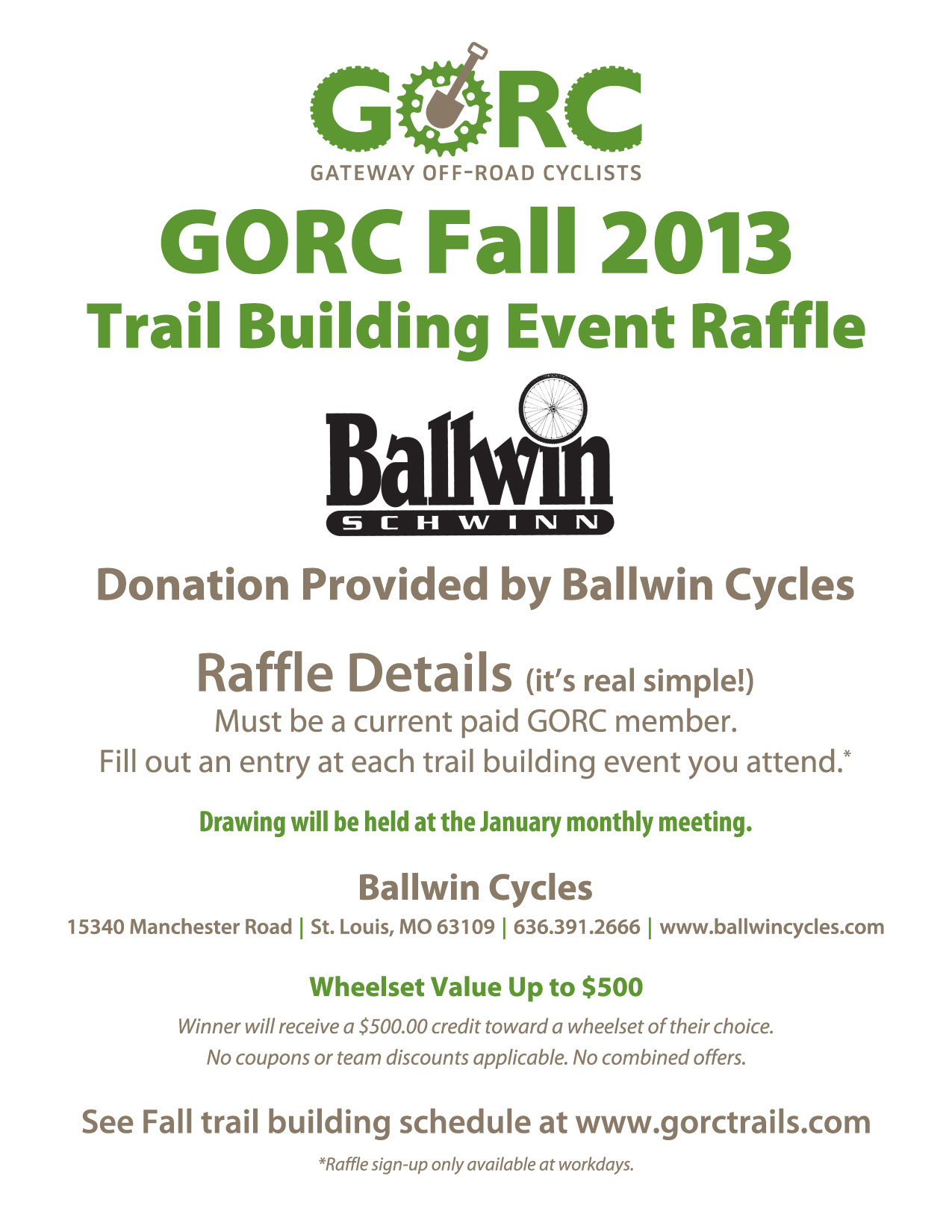 2013 Fall Trail Building Raffle sponsored by Ballwin Cycles