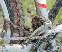 Muddy bike from riding wet trails