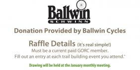 2013 Fall Trail Building Raffle sponsored by Ballwin Cycles