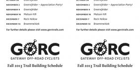GORC Fall 2013 Trail Building Schedule - Quarter Sheet